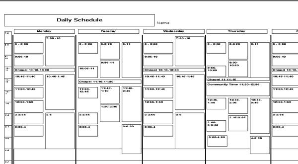 schedule planners - Blackdgfitness