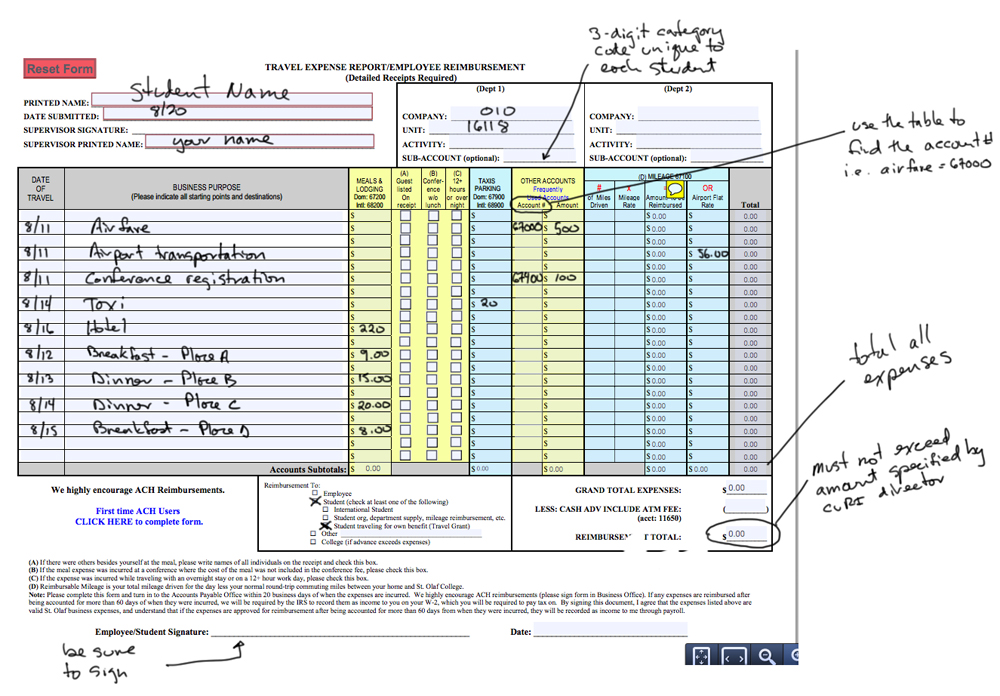 Sample Reimbursement Form \u2013 CURI - reimbursement form