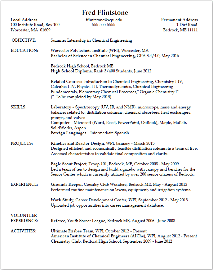 Perfect Resume Outline Sample | Example Good Resume Template