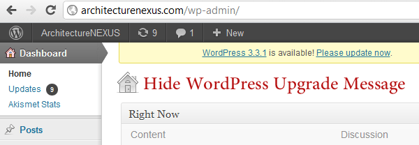 hide-WordPress-Upgrade-Message