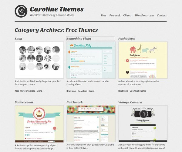 Free WordPress themes by Caroline Moore