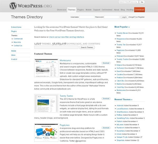 WordPress.org:Free WordPress Themes directory