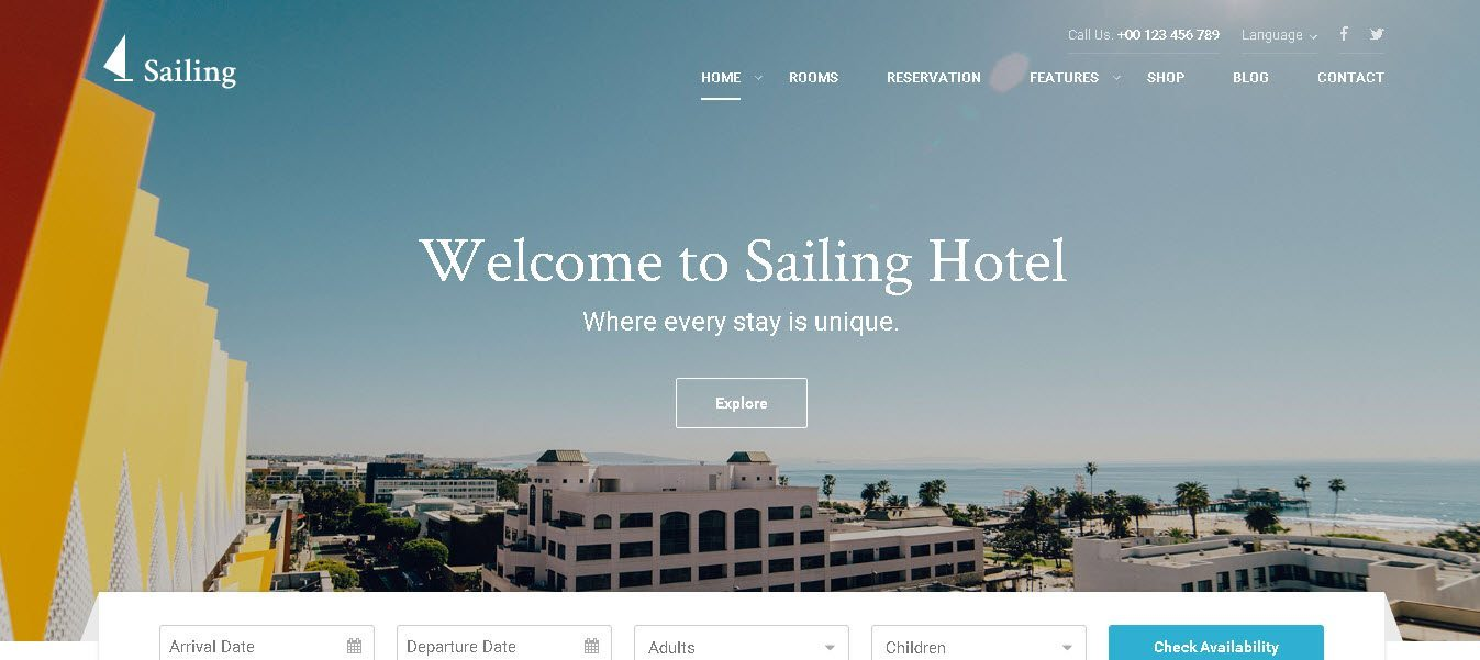 WordPress Hotel Theme - Sailing