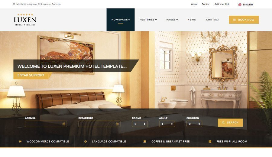 Luxen Hotel & Resort Theme for WordPress