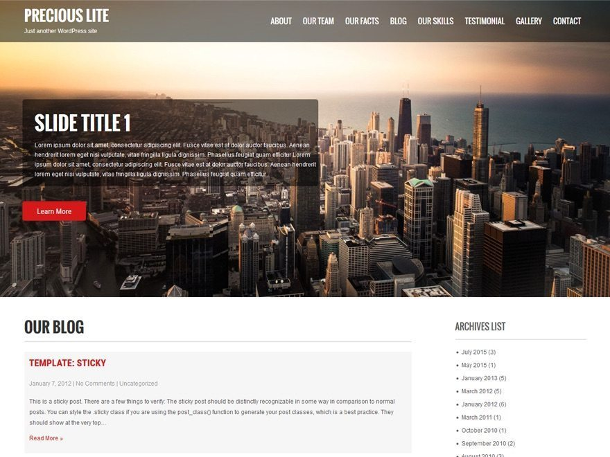 Free WordPress Hotel Theme - Precious Lite