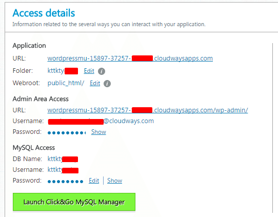 WordPress Multisite Access Details