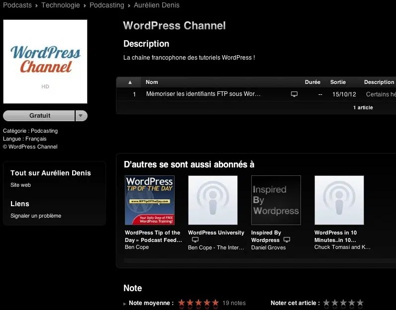Capture d'écran - WordPress Channel sur iTunes