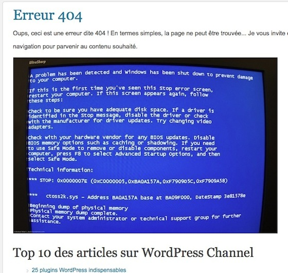 Capture d'écran - Page 404 modifiée sur WordPress Channel