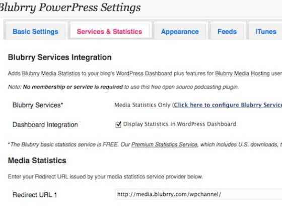 Capture d'écran - Options de statistiques du plugin PowerPress