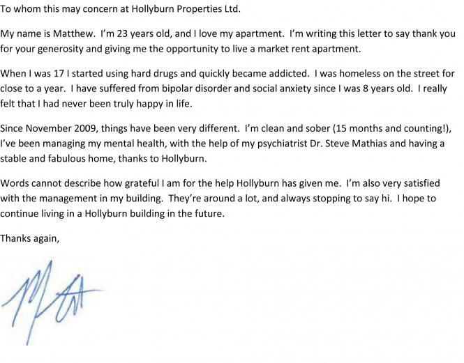 To Whom it May Concern at Hollyburn Properties - Covenant House - to whom it may concern letter
