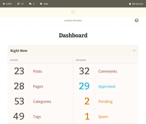 Propuesta de DevPress par el WordPress dashboard