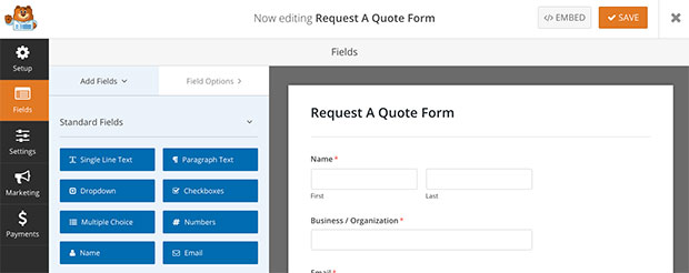... How To Create A Request A Quote Form In WordPress   Standard Quotation  Form ...