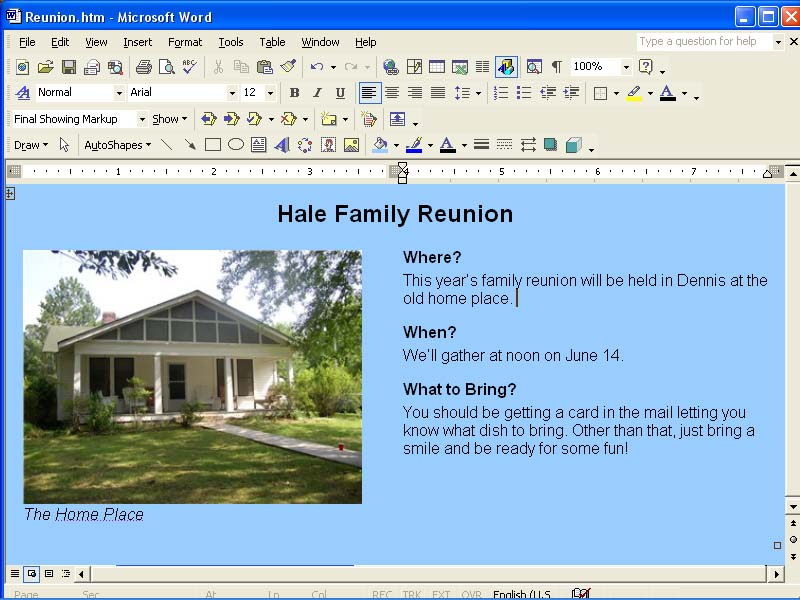 Creating a Web Page Using Microsoft Word