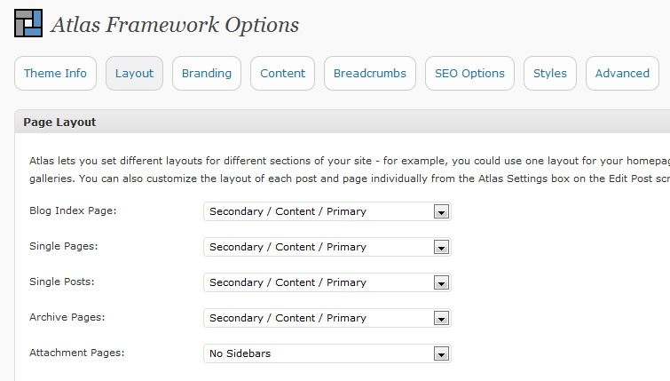 Various Option Pages In The Back-end