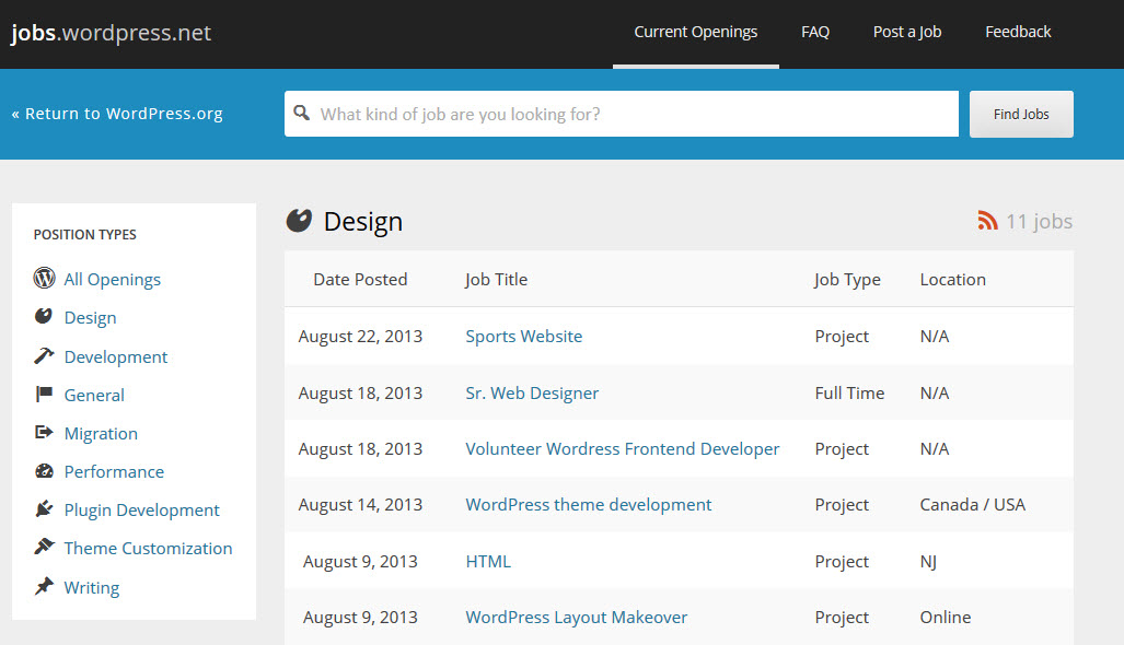 WordPress Jobs Board New Design