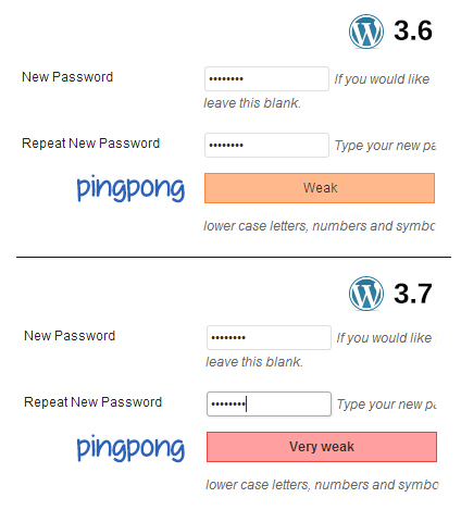 "Password ""pingpong"" strength meter comparison"