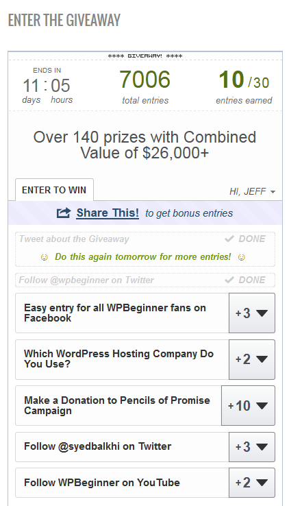 Multiple Ways To Earn Entries