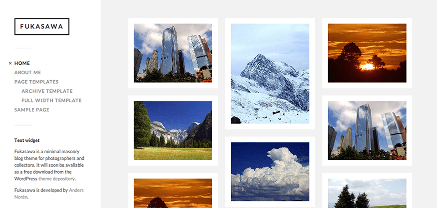 Fukasawa: A Free Masonry WordPress Theme for Photographers and Collectors
