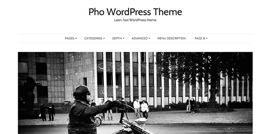 Pho: A Free Minimalist, Masonry WordPress Theme