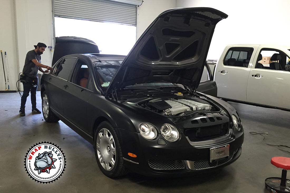 Bentley Continental Flying Spur Satin Black Car Wrap