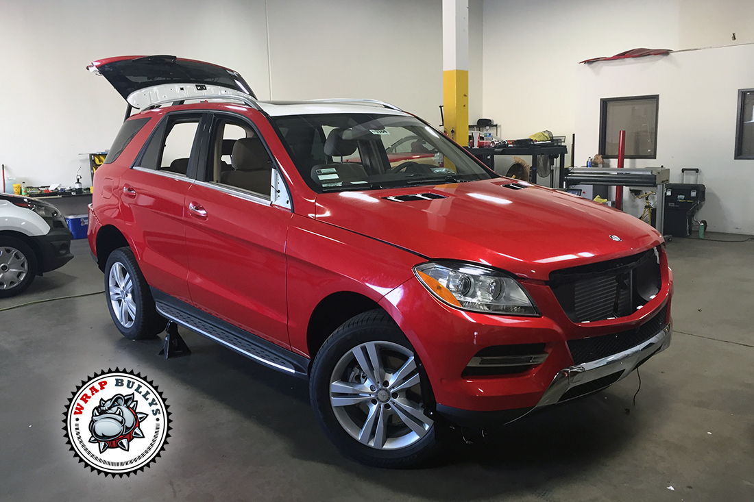 Mercedes benz ml wrapped in 3m gloss dragon red car wrap for Mercedes benz corp