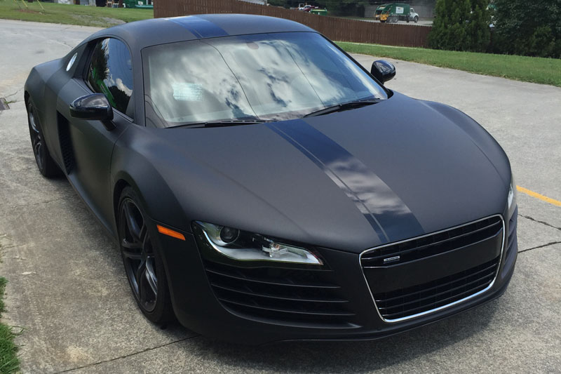 matte deep black audi r8 wrap wrapfolio. Black Bedroom Furniture Sets. Home Design Ideas