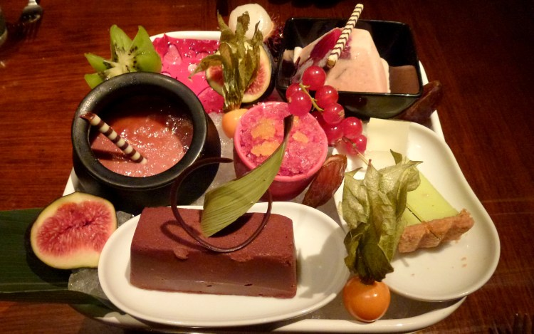 Rose kulfi, rose and chocolate sorbet, passionfruit granita, brulee, lime tart, chocolate rasmalai at amaya