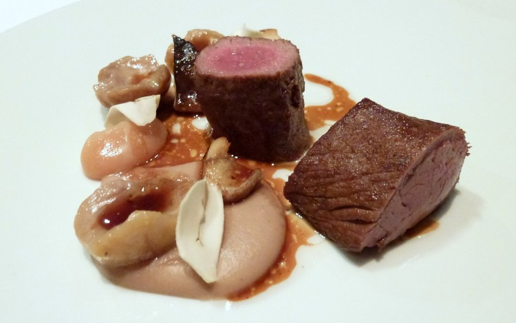 Loin of red deer, chestnut, cepes, quince at hedone