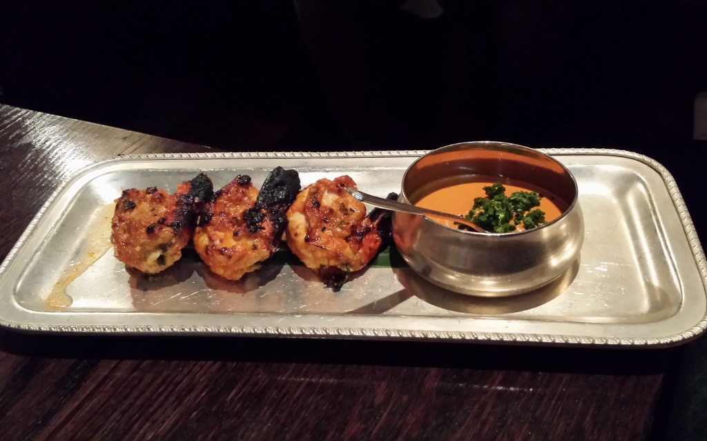 Wild tiger prawns, red pepper chutney at gymkhana