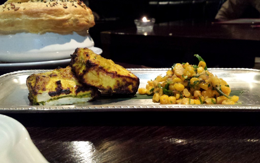 Paneer tikka, cashew nut, corn chat at gymkhana