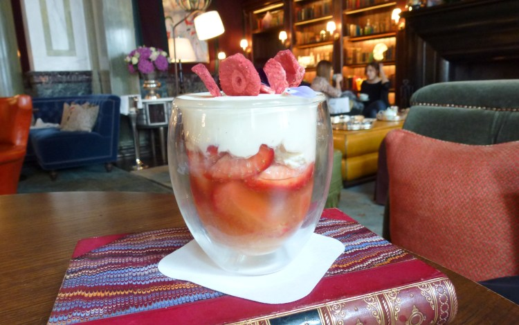 Strawberries romanoff, grand marnier scarfes bar