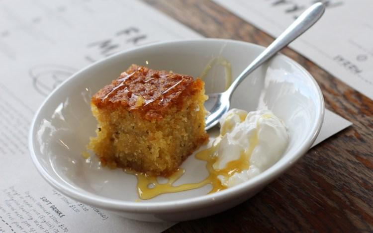 Lemon, rosemary and honey cake, greek yogurt Franco Manca Chiswick
