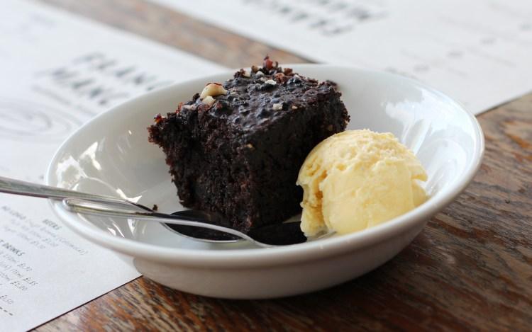 Almond and chocolate cake, vanilla ice cream Franco Manca Chiswick