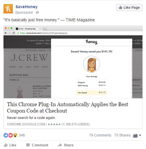 Facebook Advertising App Install SaveHoney