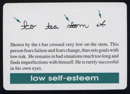 Low t-bar indicates low self-esteem