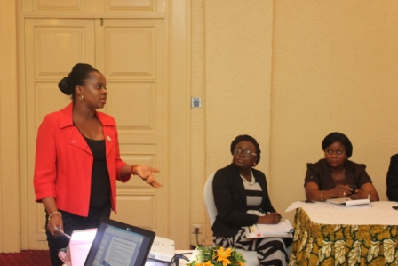 A participant making a presentation at the legal-writing workshop, Sheraton, Lagos.