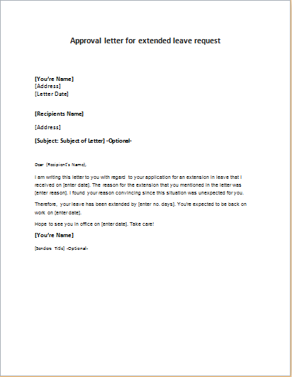 Leave Of Absence Letter Of Approval – Sample Leave Request
