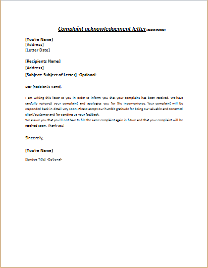 Complaint Letter Sample Complaint Letter Format Apology Letter For Mistake Occurred In An Account