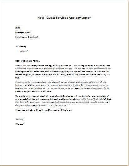 apology letter to a guest at a hotel