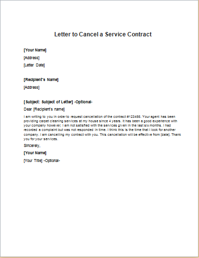 Letter Cancelling Contract