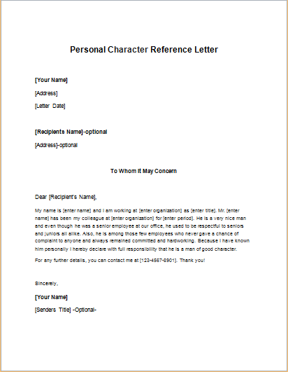Character Reference Letters And Letters Of Recommendation Character Reference Letter For Physician Cover Letter