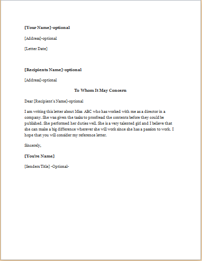 reference letter for nurse co worker
