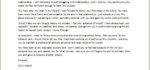 Apology Letter to Teacher for Misbehavior writeletter2