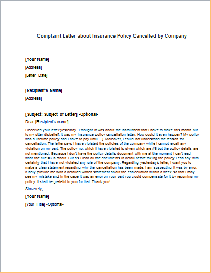 Sample Of Letter To Cancel Life Insurance Policy | Example Good ...