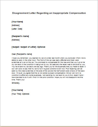 Contract Disagreement Letter Sample – Disagreement Letter