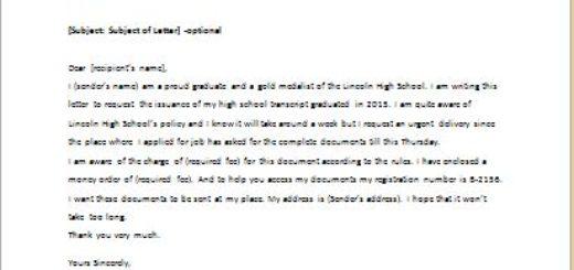 High School Transcript Request Letter writeletter2