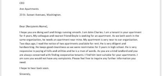 Character Reference Letter for a Property Lease Applicant