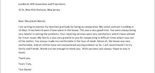 Thank You Letter to Landlord for Cooperation writeletter2