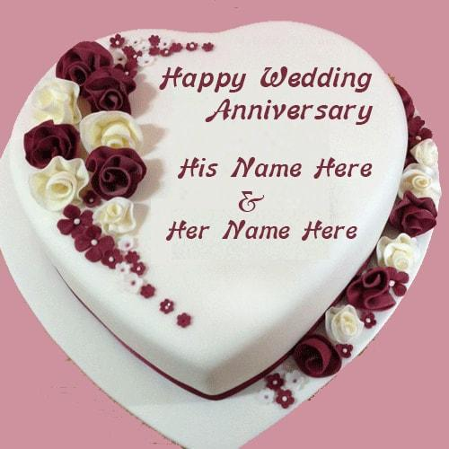 Wedding Invitation Card With Name Editing Happy Anniversary Cake With Couple Name Editor