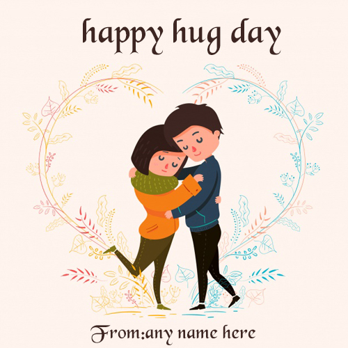 Baby Dolls Video Cartoon Happy Hug Day Wishes Greeting Card With Name Images
